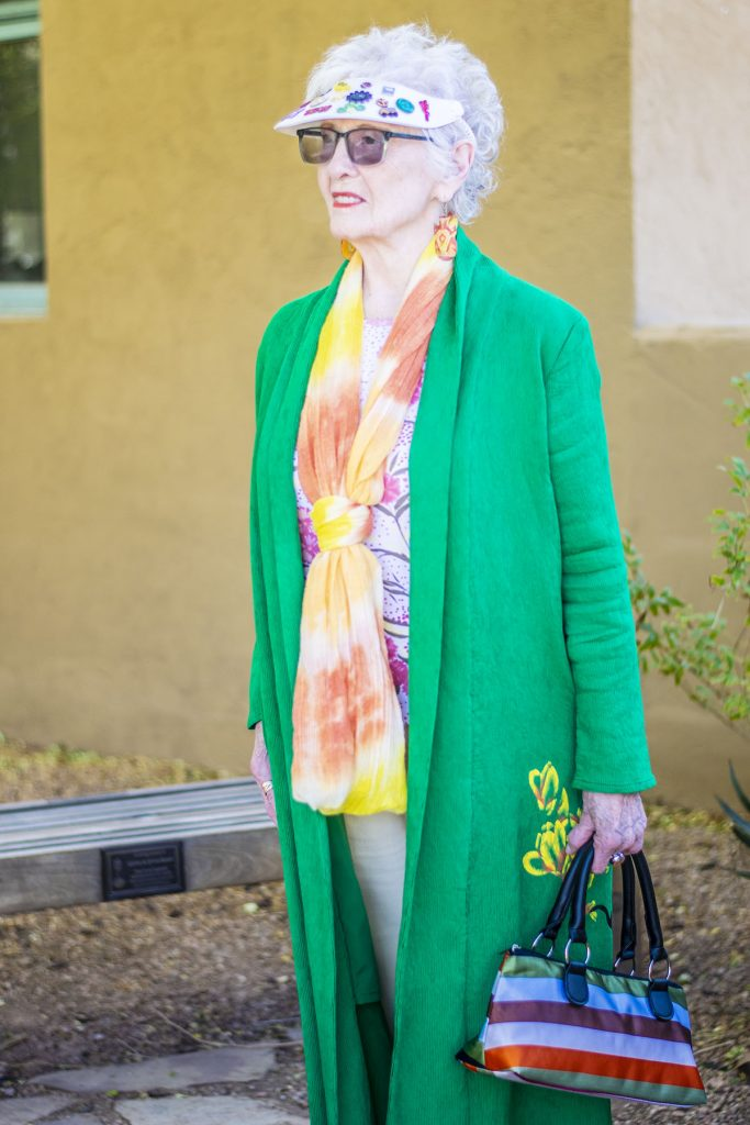 Green kimono outfit with pastels