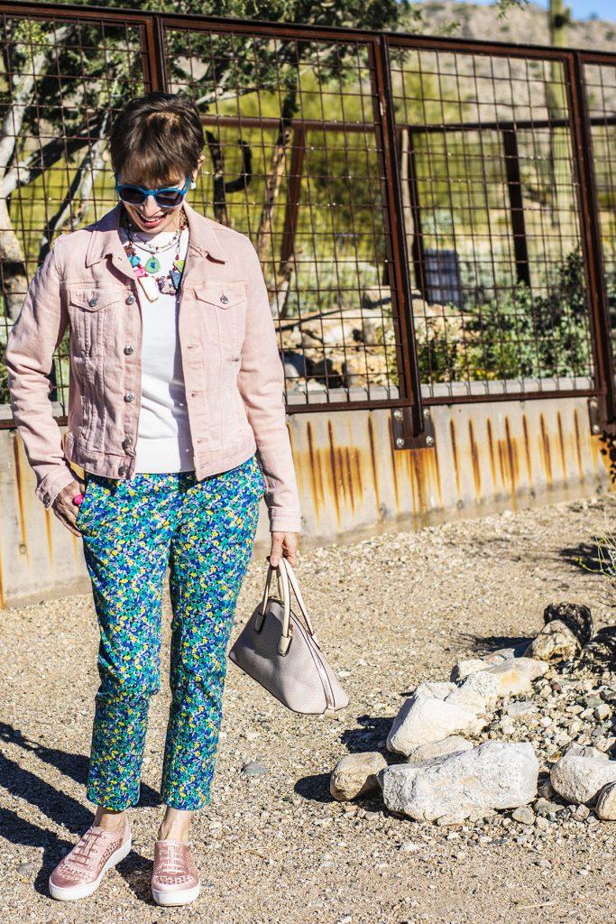 Floral pants and pink denim jacket
