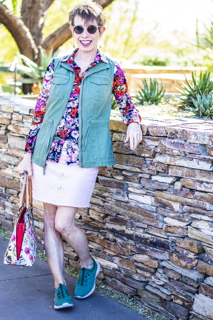 Florals and green utility vest