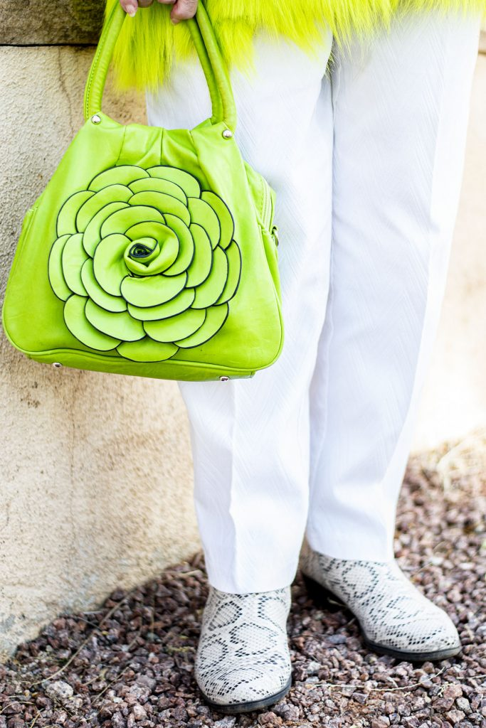 White outfit with bright green