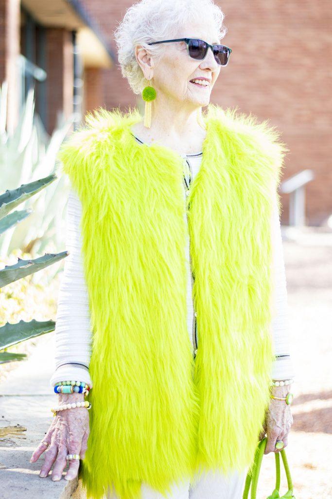 Bright green fur vest