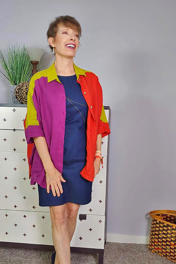 Color block top over a column of color