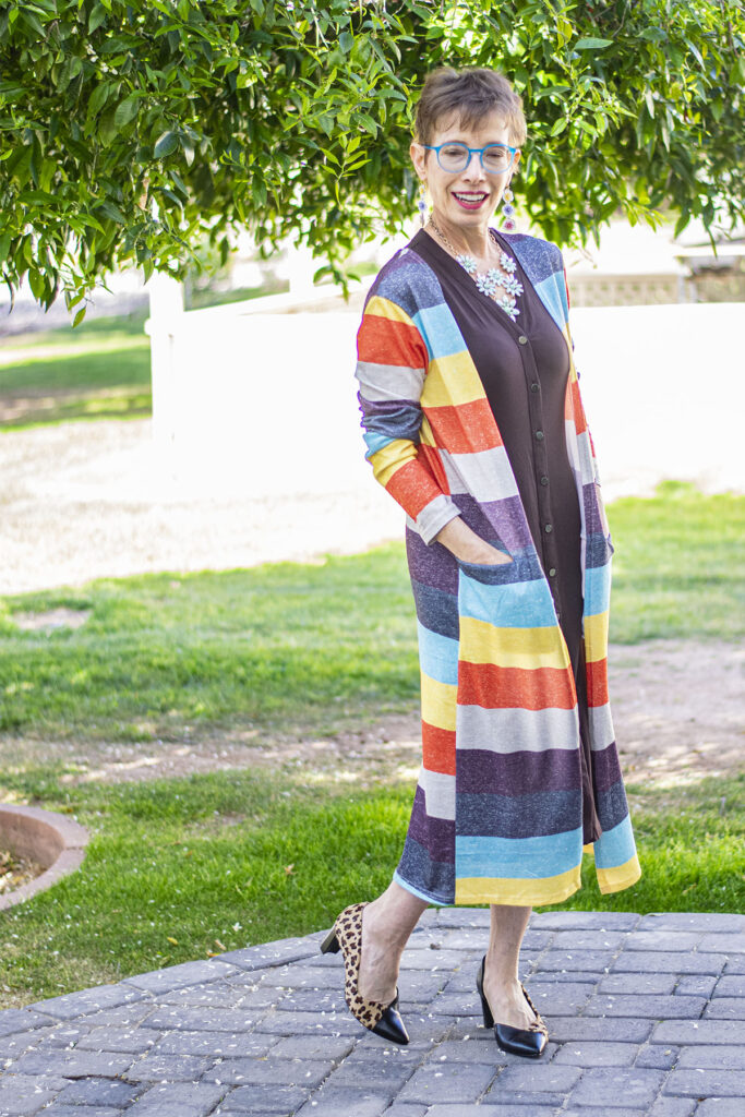 Layer a cardigan over your shirtdress