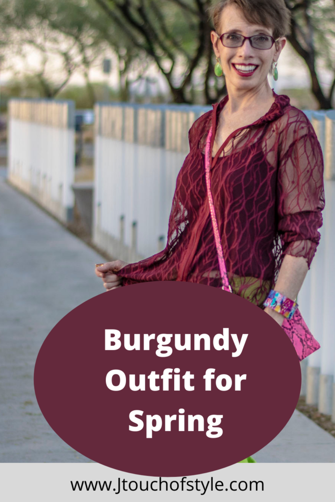 Burgundy outfit for spring