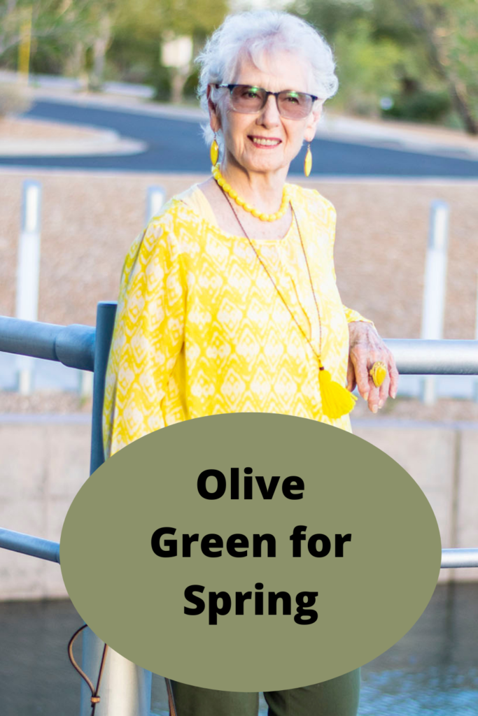 Olive green outfit for spring