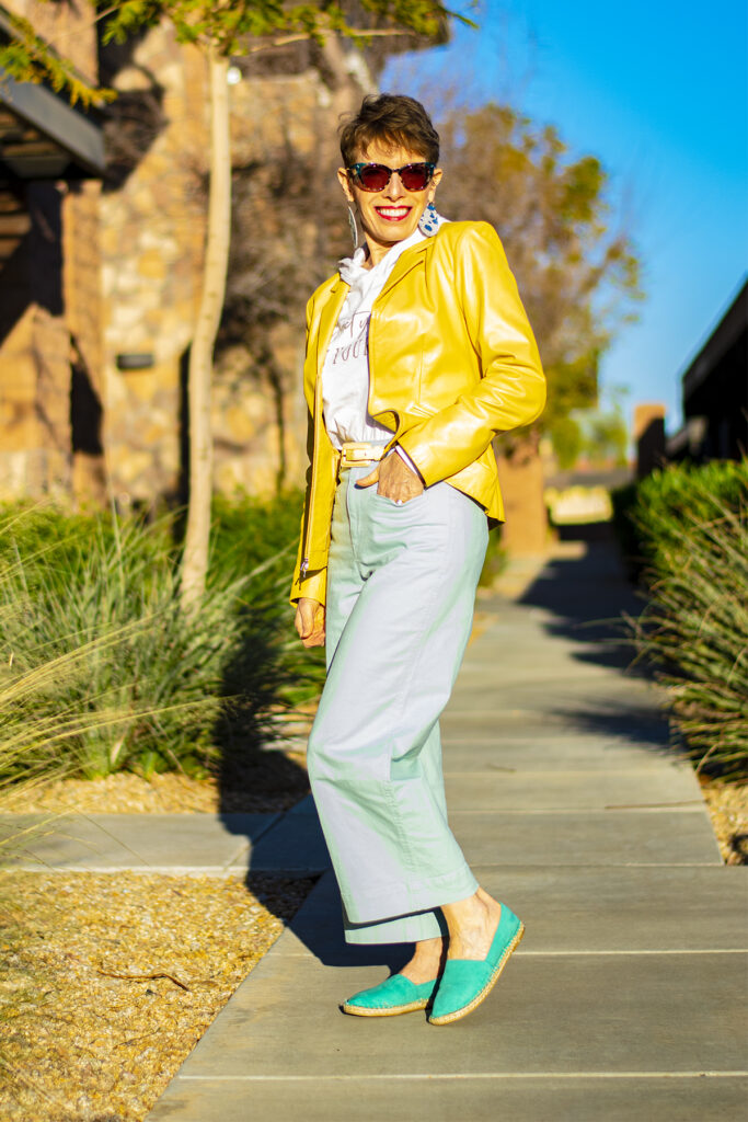 Colorful yellow jacket and mint cropped pants