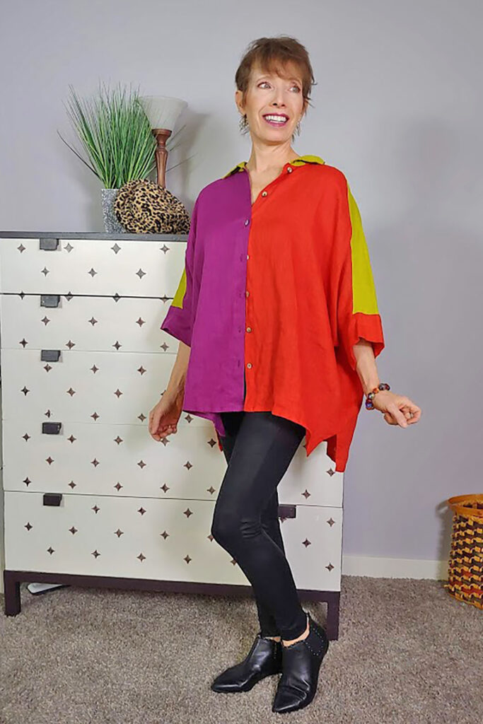Wearing a color block top with leggings