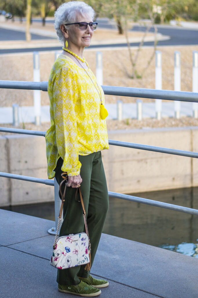Olive green outfit with yellow