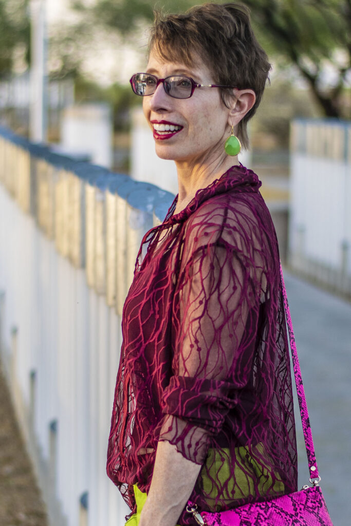 Burgundy outfit for women over 50