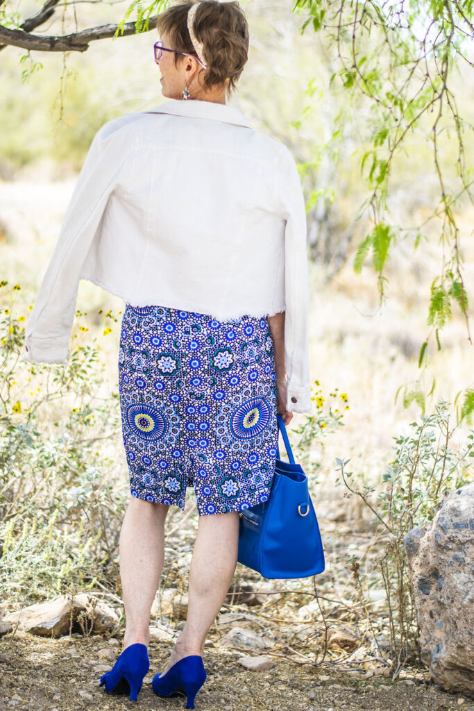 White jacket with print skirt