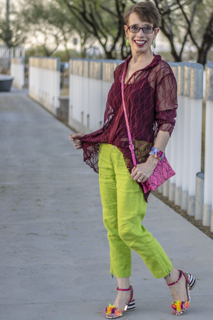 Burgundy outfit with spring looks