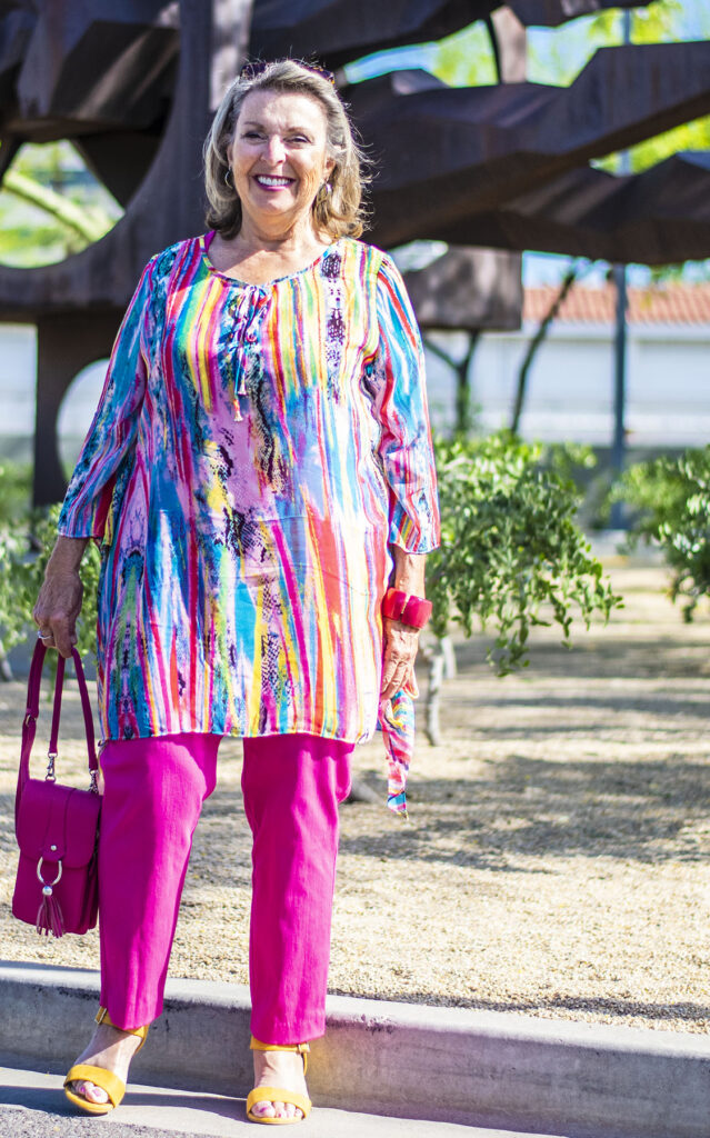 Woman over 70 in a tunic