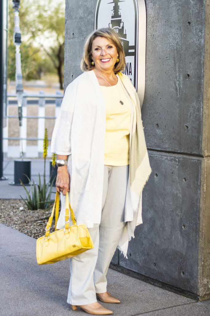 Soft spring colors with a grey outfit