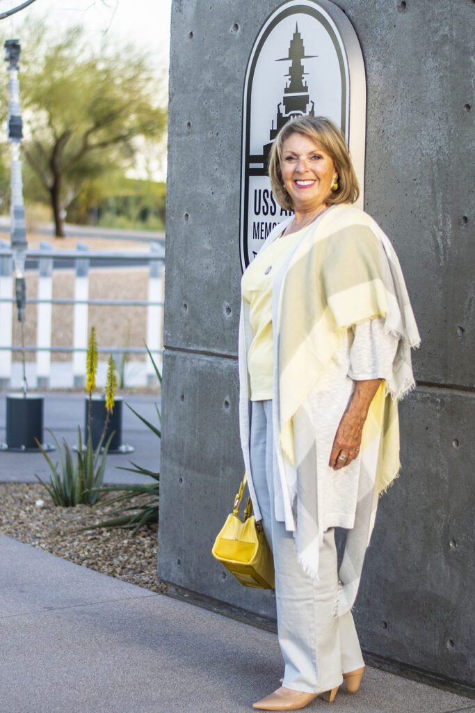 Adding yellow to a grey outfit