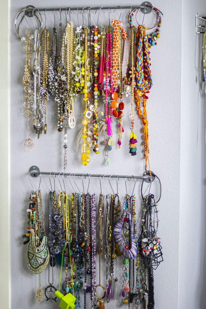 Necklaces on curtain rods