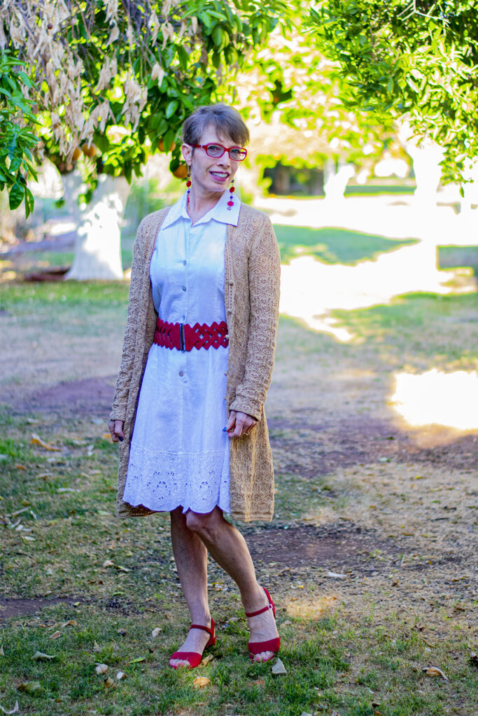 Red belt with white dress