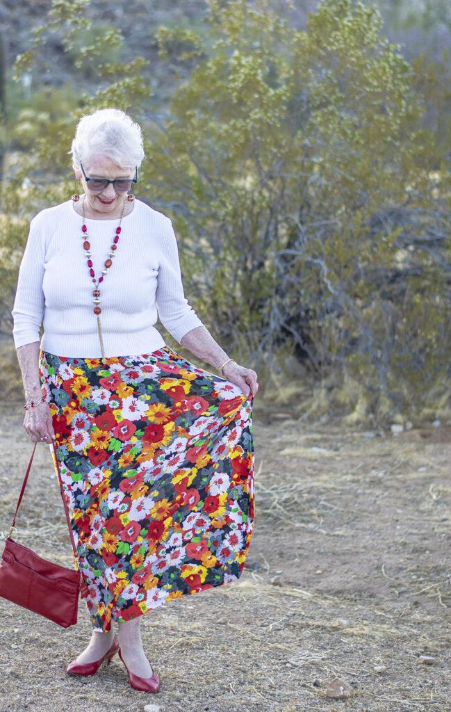 Print maxi skirt for older women