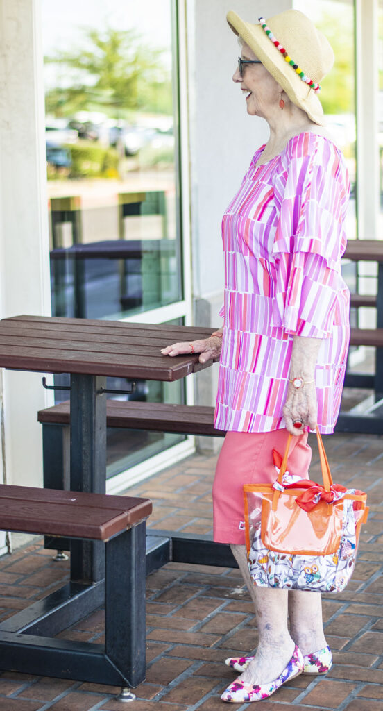 Mixing prints wearing bright colors
