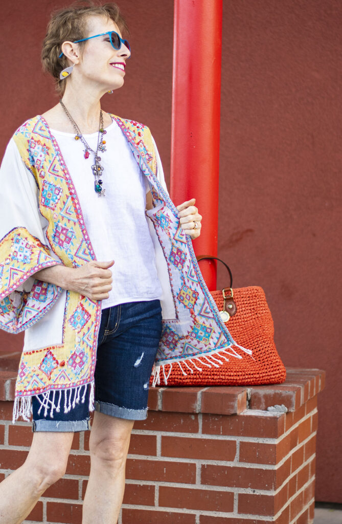 Shorts and kimono for women over 50