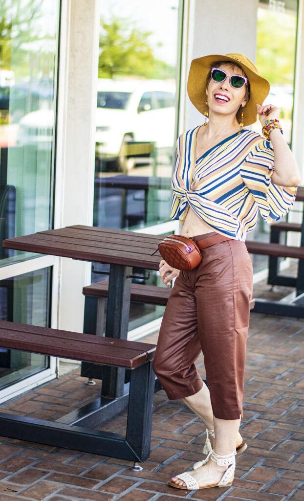 Capri pants and midriff top