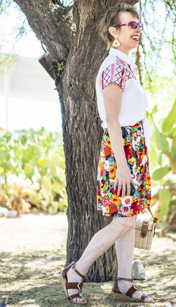 How to style an embroidered blouse with print