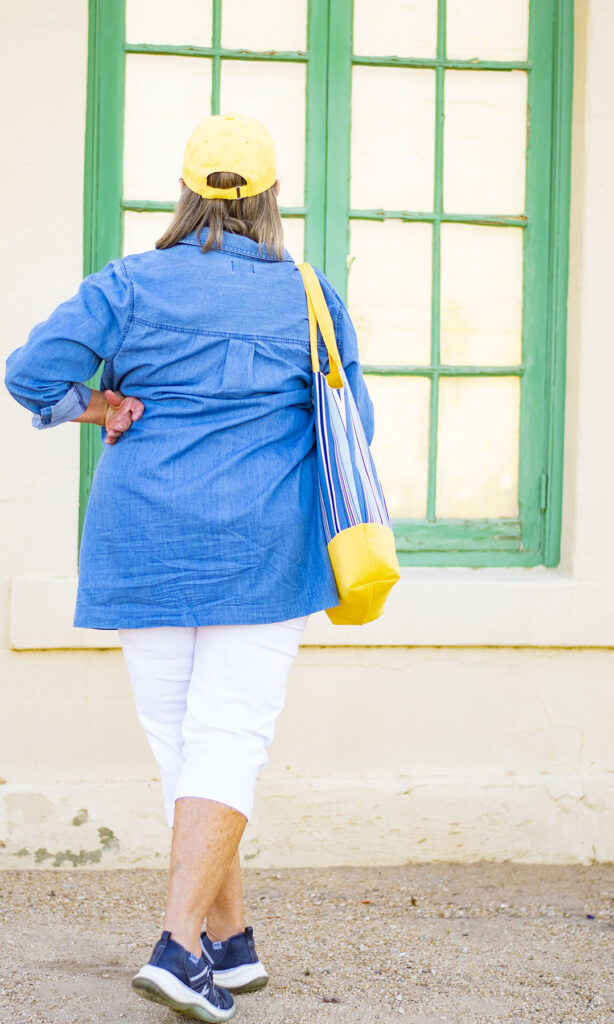 Women over 70 showing tote bag fashion