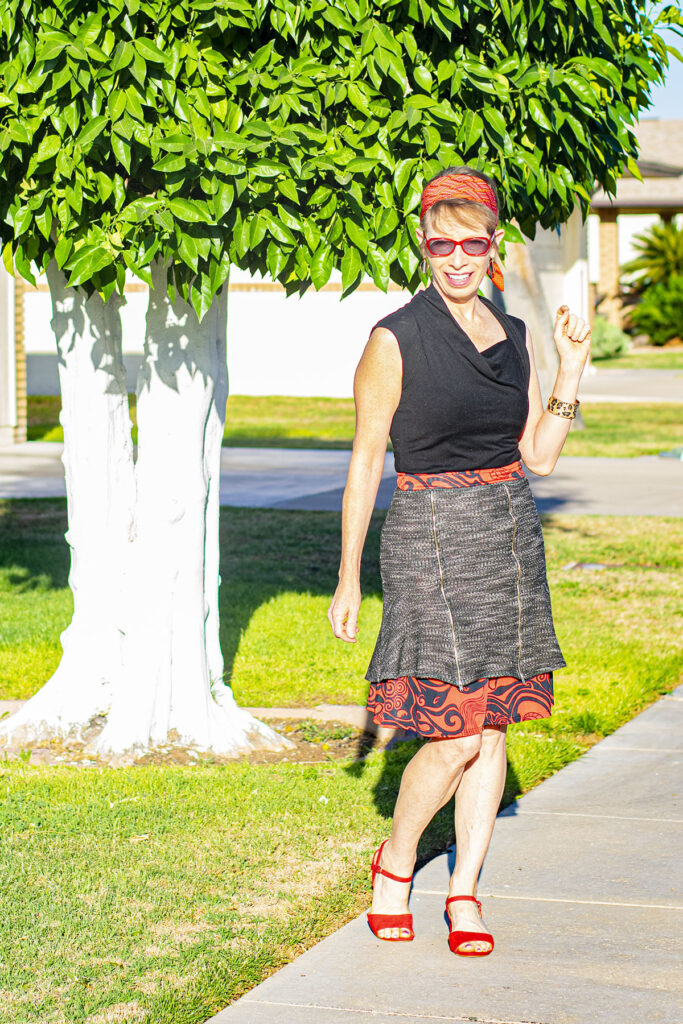 Layer a long skirt under a short skirt