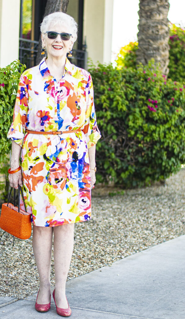 Orange accents with a summer dress