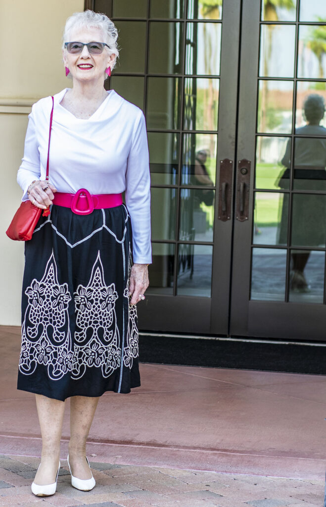 Woman over 70 wearing color