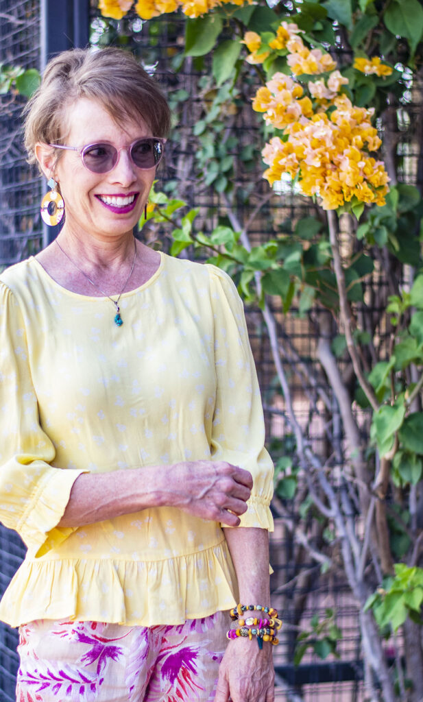 Adding turquoise to a pink and yellow outfit