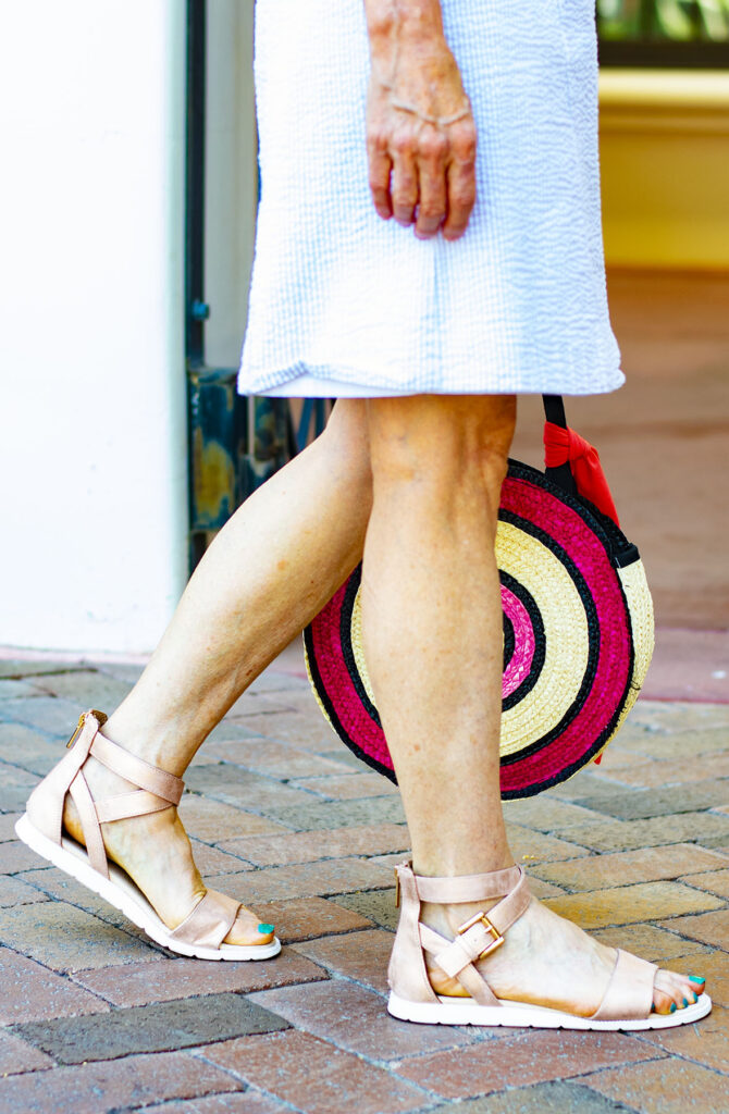 Metallic pink sandals