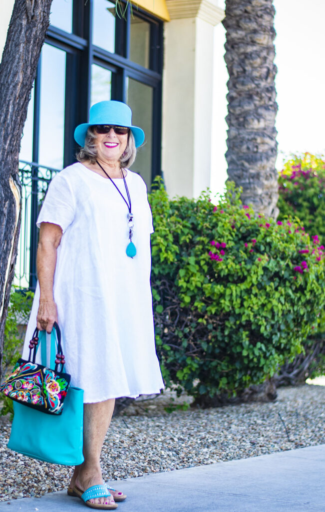 Color and a white dress for summer brights