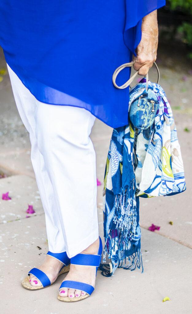 Scarf tied around a purse