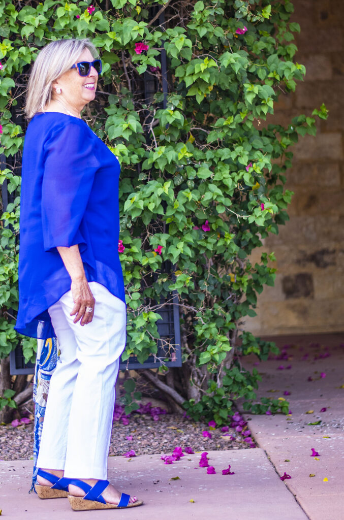Blue and white outfit for summer