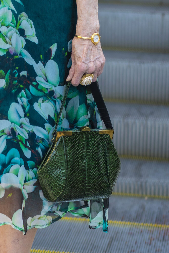 Green purse and jewelry