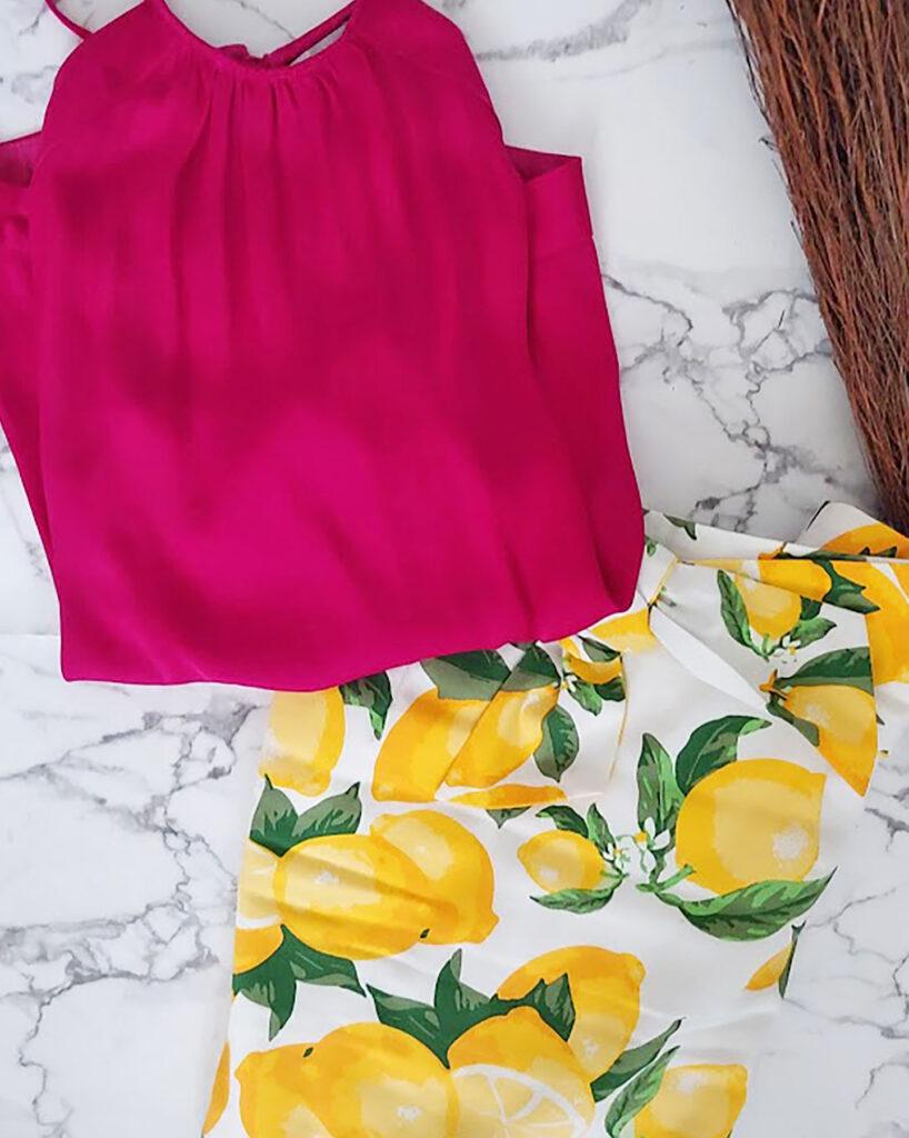 Color recipe with a lemon print skirt