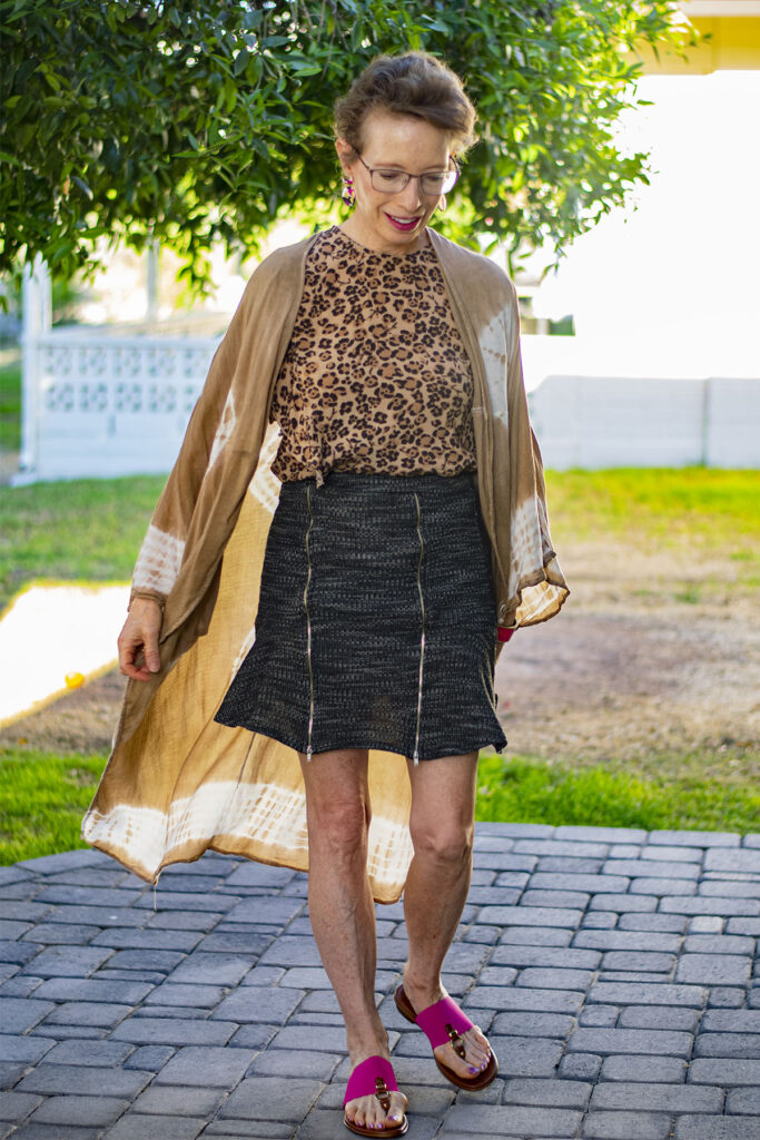 Long cardigan as how to wear a short skirt