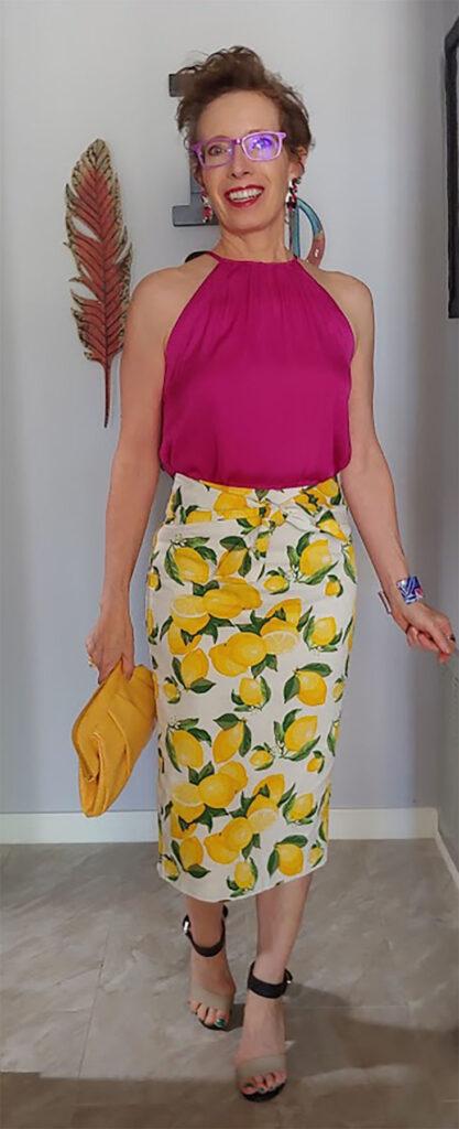 Lemon print skirt and hot pink top