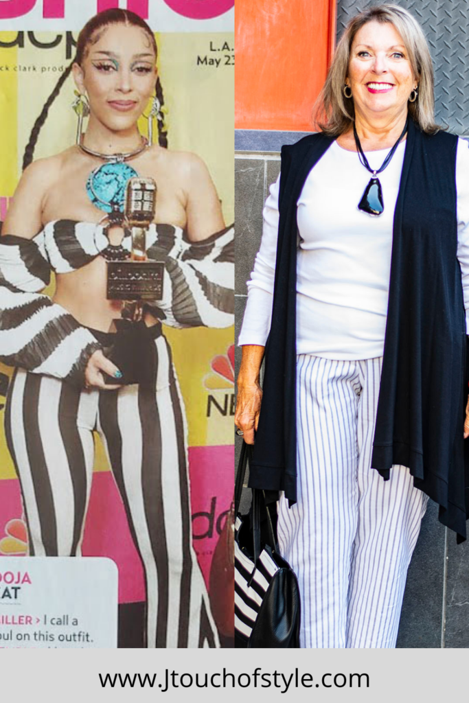 Making stripes work for the fashion police inspiration