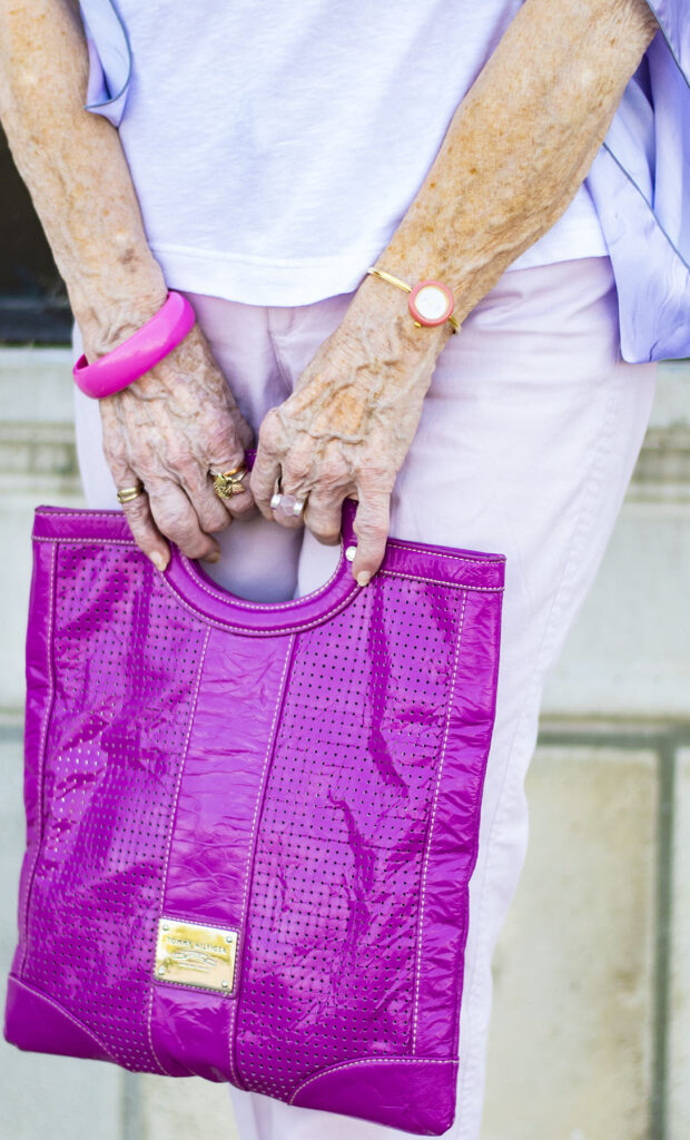 Bright purse as an accent color