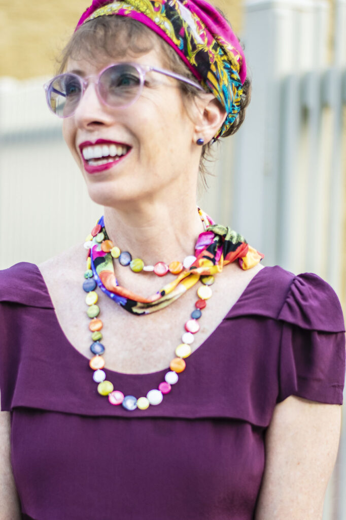 Colorful necklace and scarf