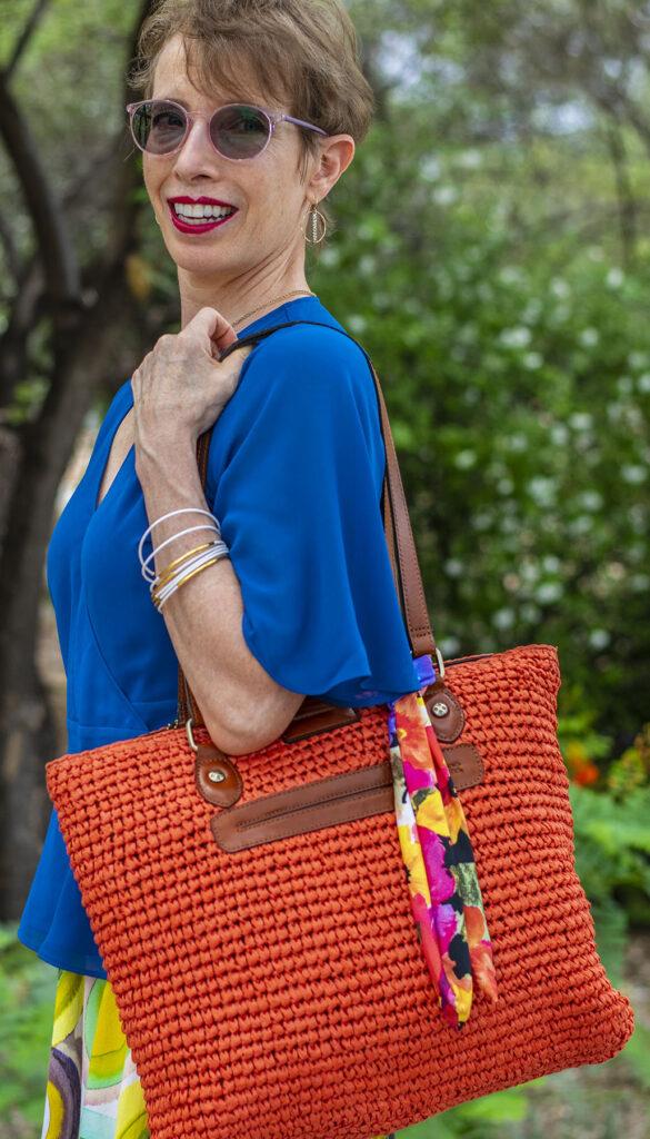 Bright colored straw purse
