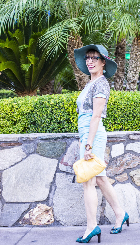 Heels and a clutch on how to dress up a casual dress