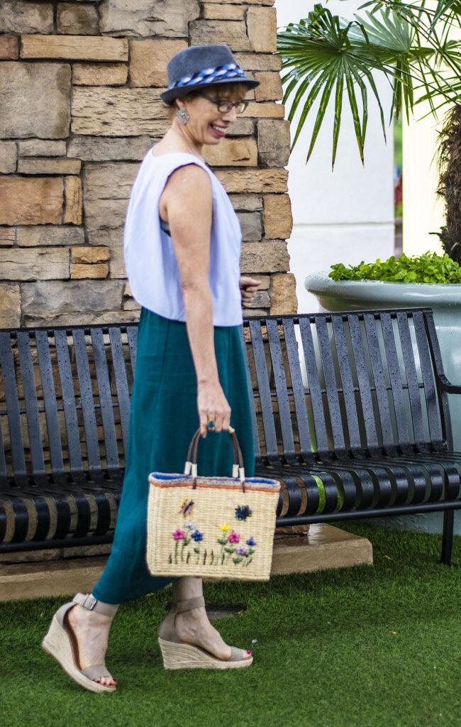 Embellished straw bag