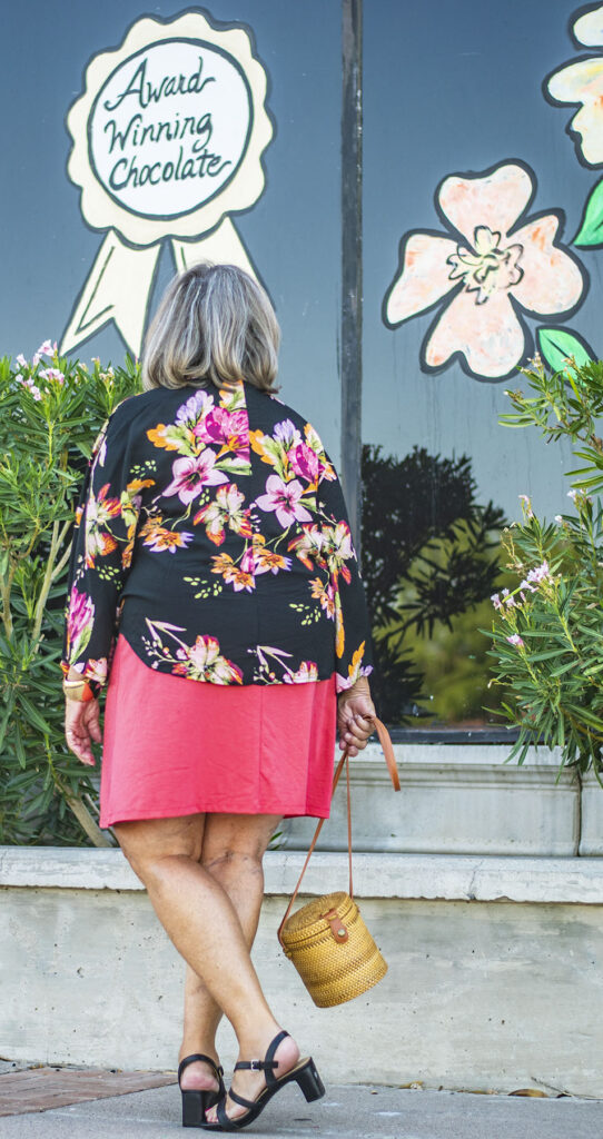 Stylish clothes for older women with a dress and kimono