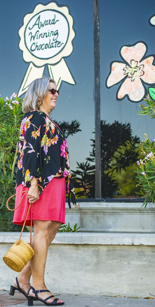 An Old Navy dress and stylish clothes for older women