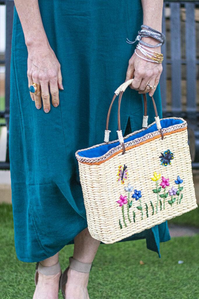 Embellished straw purse
