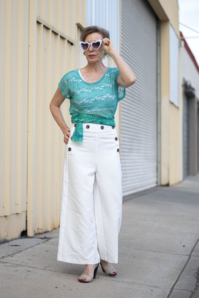 White wide leg pants outfit