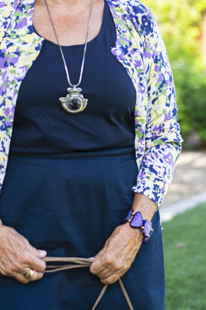 Navy and purple accessories