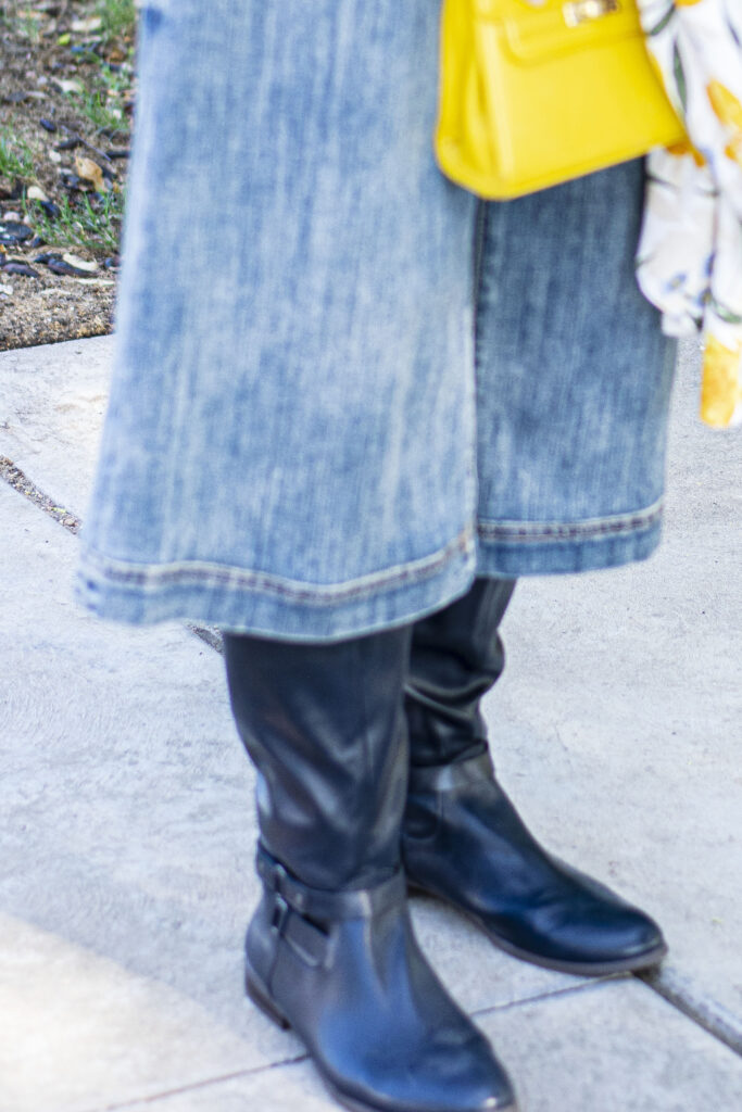 Boots and culottes for older women